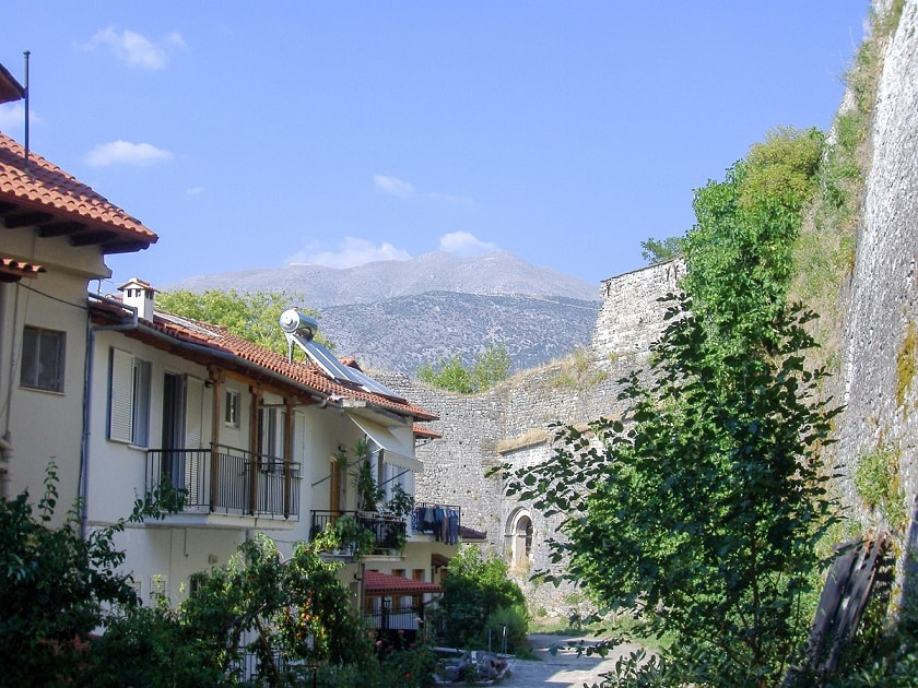 Ioannina street with view of mountains