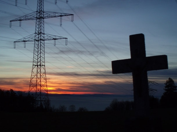Crosses and electricity masts