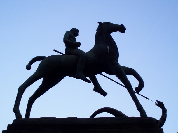 Statue of St. George slaying the dragon in Kohlberg, Basel