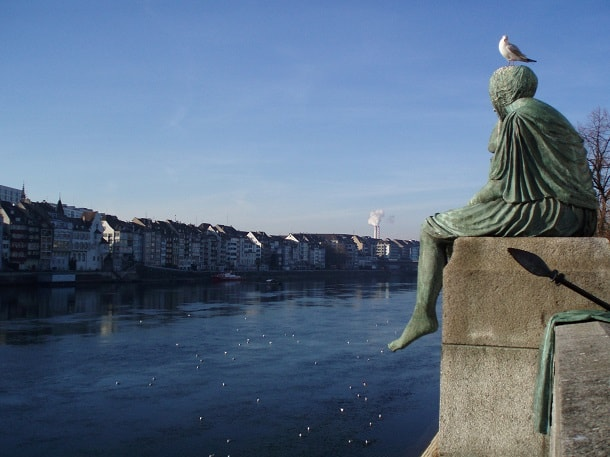The Helvetia statue in Basel on the Rhine