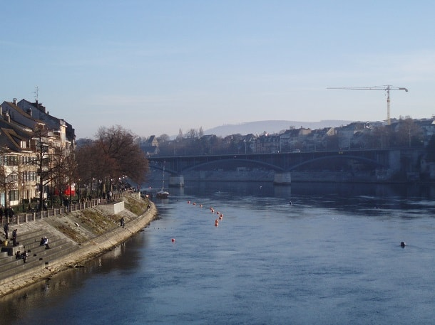 Winter view of the Rhine in Basel