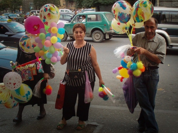 Selling baloons in Tbilisi