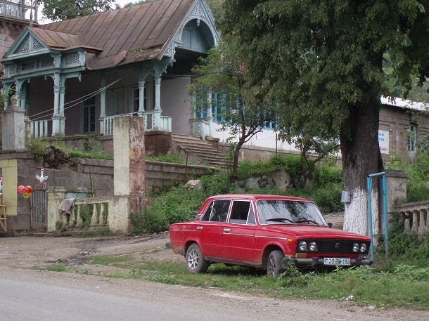 Red Lada in refugee village
