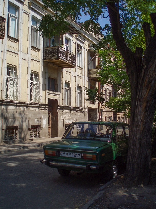 Green Lada in the shade