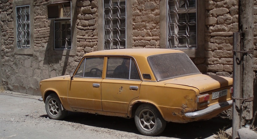 Dusty yellow Lada