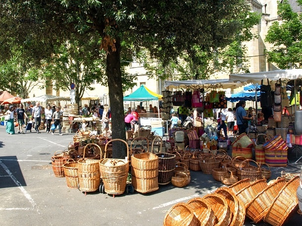 Baskets on offer at the market in Bergerac