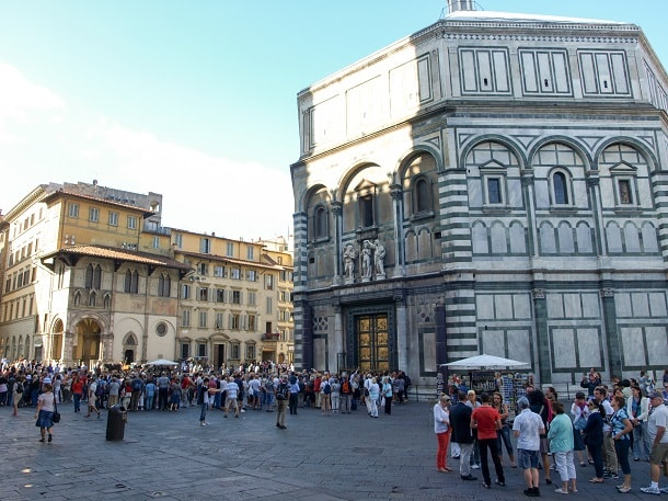 Tourists at the Baptistery of St. John