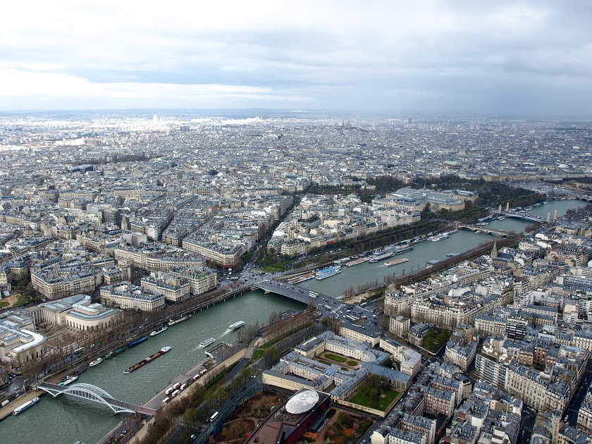 looking north at the top of the Eiffel Tower