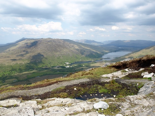 View of Kylmore Lough and Kylemore Abbey from Diamond Hill