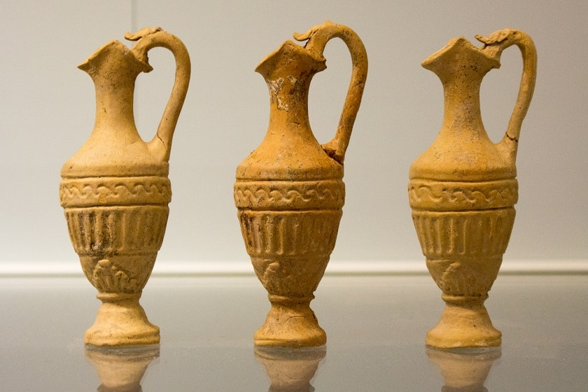 Lekythos vases at the Archaeological Museum in Heraklion