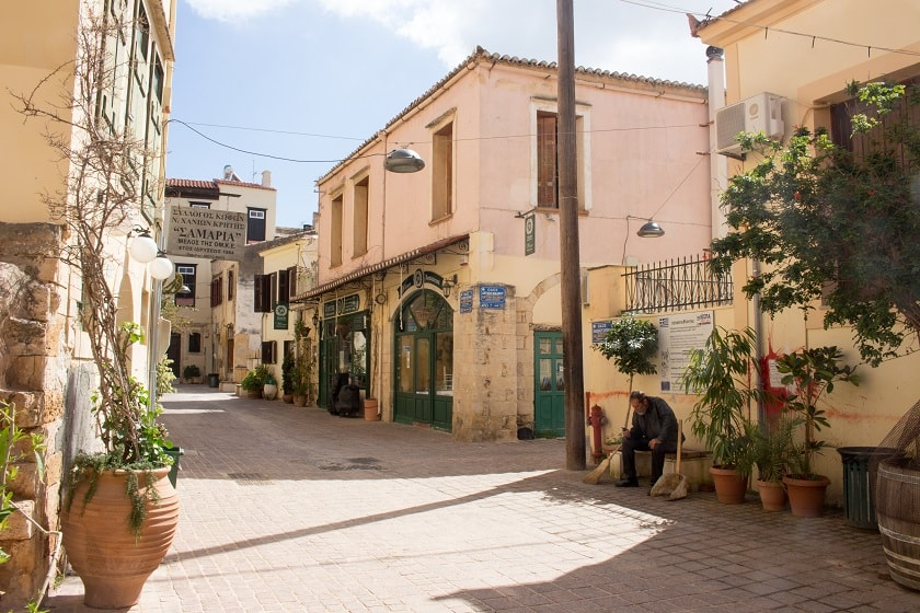 Outside the hotel in Chania