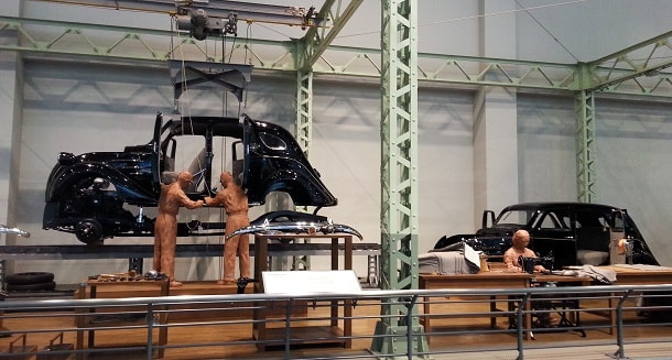 Car production at Toyota Commemorative Museum of Industry and Technology