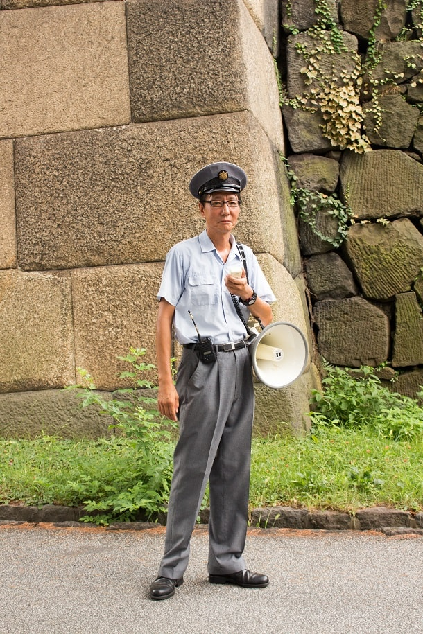 A guide of the Imperial Palace in Tokyo