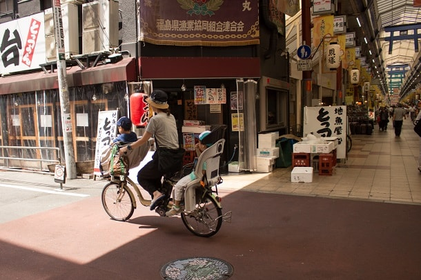 The bike lane on Tenjinbashisuji Shopping Street