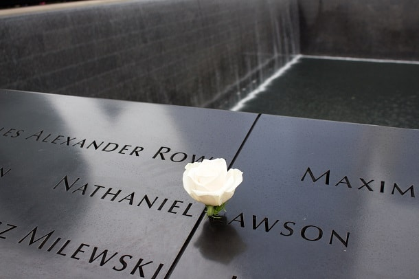 Birthday rose at the 9-11 Memorial