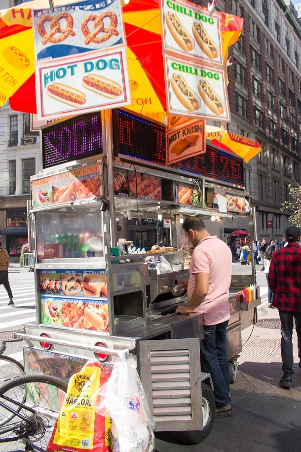 Hot dog and pretzel stand at Herald Square