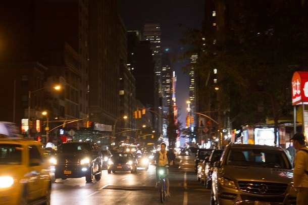 New York street by night