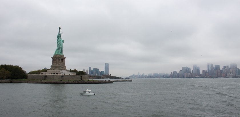 Statue of Liberty on a grey morning