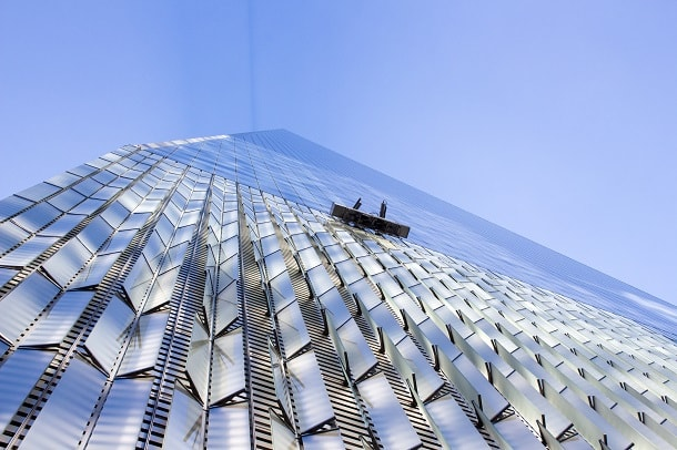 The Sisyphean job of cleaning the windows of World Trade One
