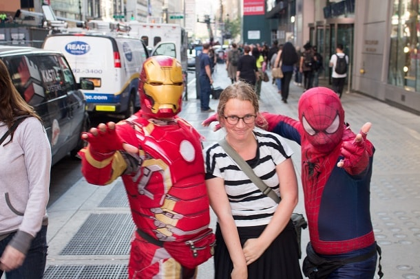 With Iron Man and Spiderman