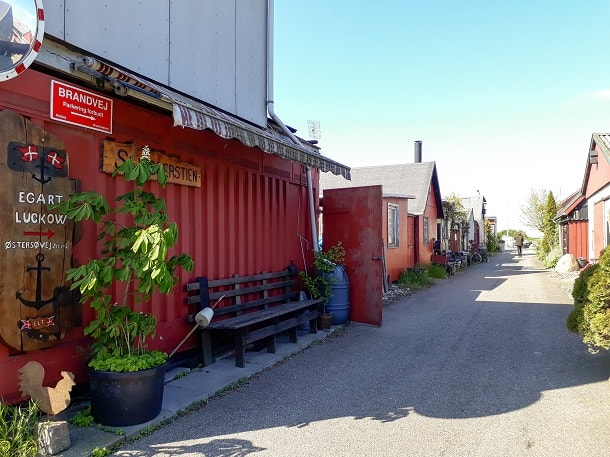 Road with containerhouses at Fiskerihavnen (Fisheries harbour)