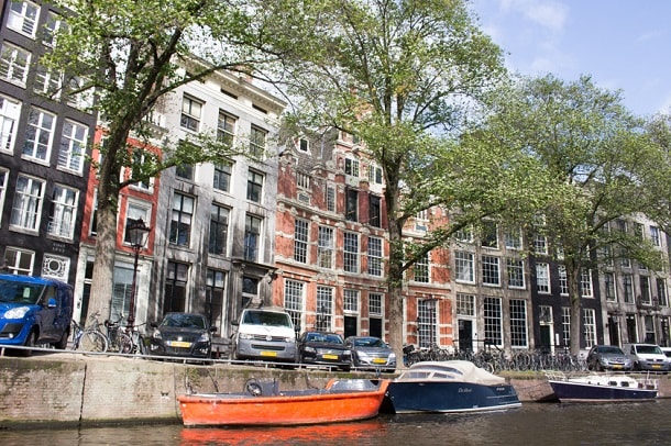 The double houses in fashionable part of Amsterdam
