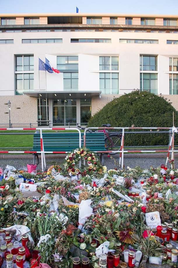 Flowers at the French Embassy after the Paris attacks in November 2015