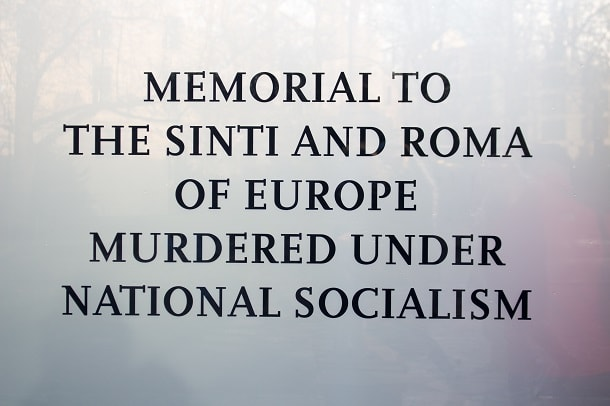 Sign for the Memorial to the Sinti and Roma Victims of National Socialism